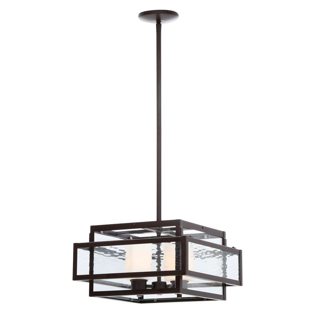 Hampton Bay Lara 2 Light Geo Bronze Pendant With Geometric Gl Shade