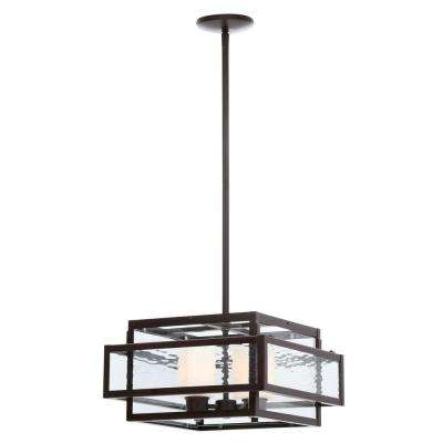 Lara 2-Light Geo Bronze Pendant with Geometric Glass Shade