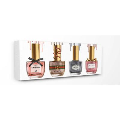 """10 in. x 24 in. """"Makeup Collection Nail Polish Pink Grey Red Fashion Design""""by Ziwei Li Canvas Wall Art"""