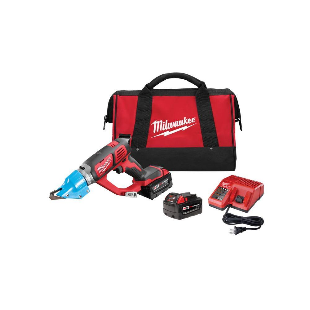 M18 18-Volt Lithium-Ion Cordless 14-Gauge Double Cut Metal Shear Kit W/(2)