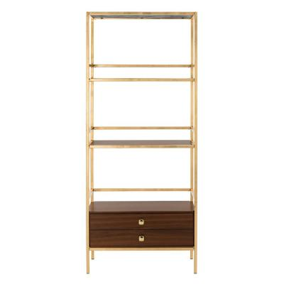 72 in. Gold/Walnut Metal 4-shelf Etagere Bookcase with Open Back