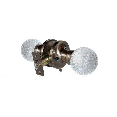 Golf Ball Crystal Antique Brass Privacy Bed/Bath Door Knob with LED Mixing Lighting Touch Activated