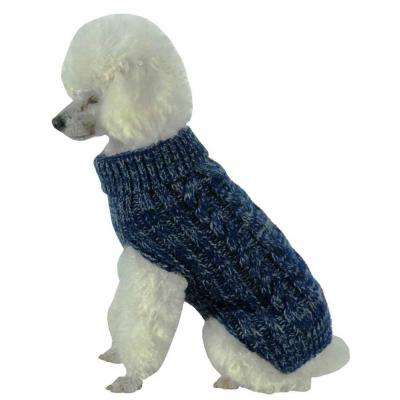X-Small Blue and Light Grey Classic True Blue Heavy Cable Knitted Ribbed Fashion Dog Sweater