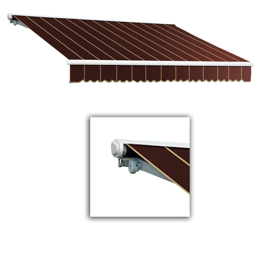 AWNTECH 12 ft. Galveston Semi-Cassette Left Motor with Remote Retractable Awning (96 in. Projection) in Burgundy Pin