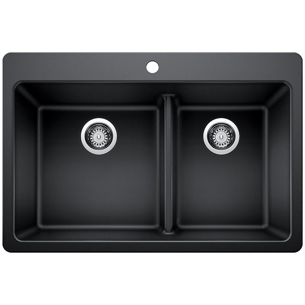 Glacier Bay Glacier Bay Drop In Undermount Granite Composite 33 In 1 Hole 60 40 Double Bowl Kitchen Sink With Low Divide In Black 442803 The Home Depot