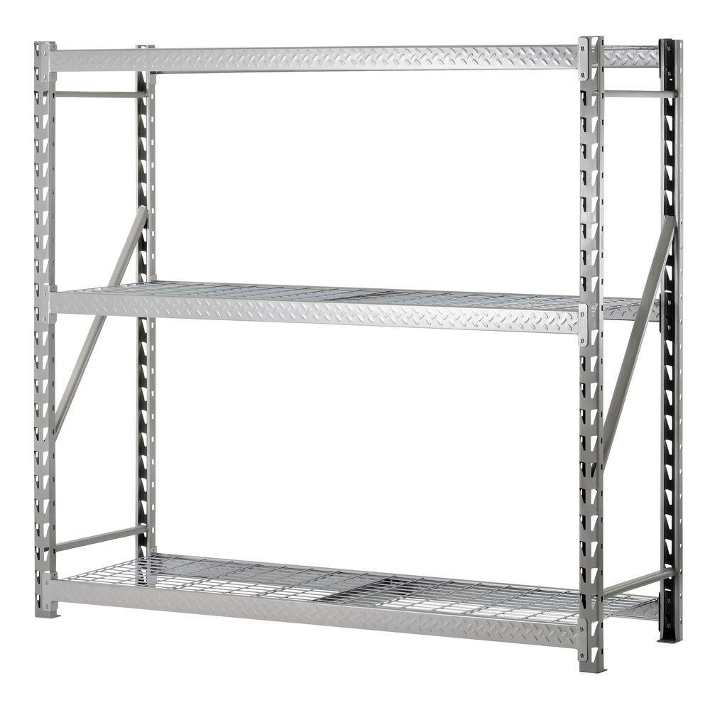 Edsal 72 in. H x 77 in. W x 24 in. D 3-Shelf Steel Commercial Shelving Unit in Silver