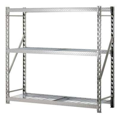 72 in. H x 77 in. W x 24 in. D 3-Shelf Steel Commercial Shelving Unit in Silver