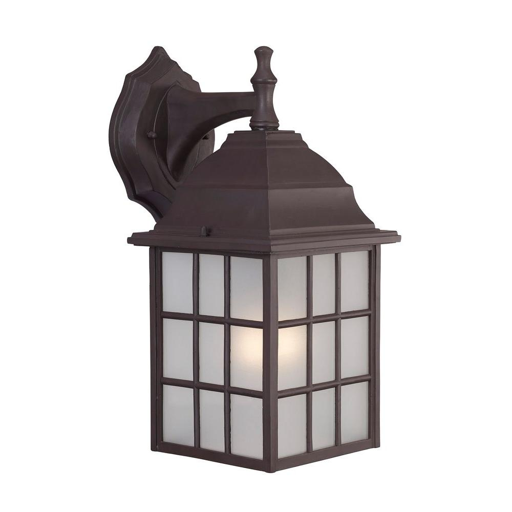 CANARM Colton 1-Light Bronze Outdoor Wall Lantern with Frosted Glass