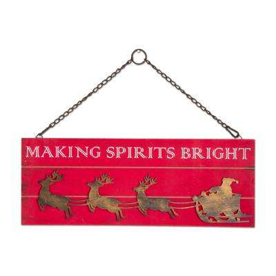 9 in. x 24 in. Making Spirits Bright Hanging Wall Art
