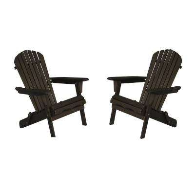 Classic Dark Brown Folding Wood Oceanic Adirondack Chair (2-Pack)