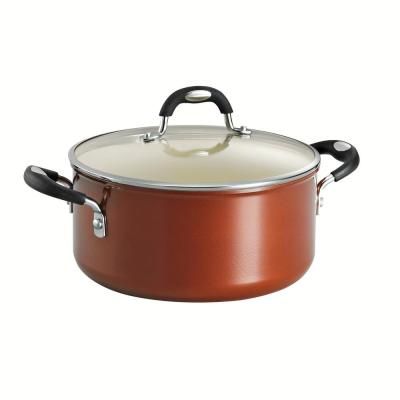 Style Ceramica 5 qt. Round Aluminum Ceramic Nonstick Dutch Oven in Metallic Copper with Glass Lid
