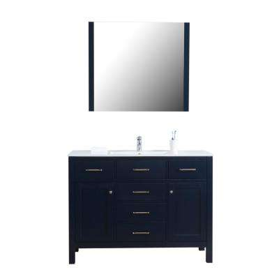 Laguna 48 in. W x 18 in. D Bath Vanity in Navy with Vanity Top in Ceramic with White Basin and Mirror
