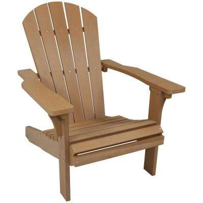 All-Weather Brown Patio Plastic Adirondack Chair