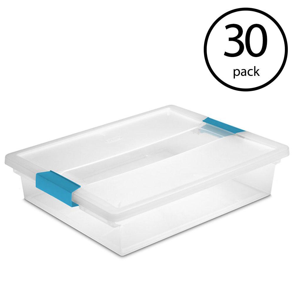 Sterilite 14948012 15 Quart White//Clear Plastic Storage Box With Blue Aquarium Latches