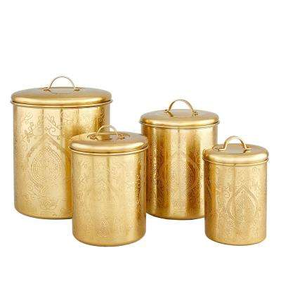 Tangier Champagne Etched Canisters (Set of 4)