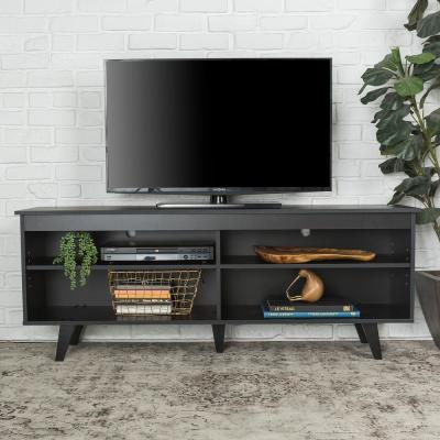 58 in. Wood Simple Contemporary Console - Black