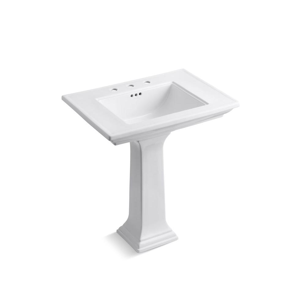 KOHLER Memoirs Ceramic Pedestal Bathroom Sink with 8 in. Centers and ...