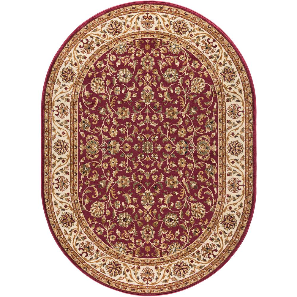 Dining 7 X 10 Rug: Tayse Rugs Sensation Red 6 Ft. 7 In. X 9 Ft. 6 In. Oval