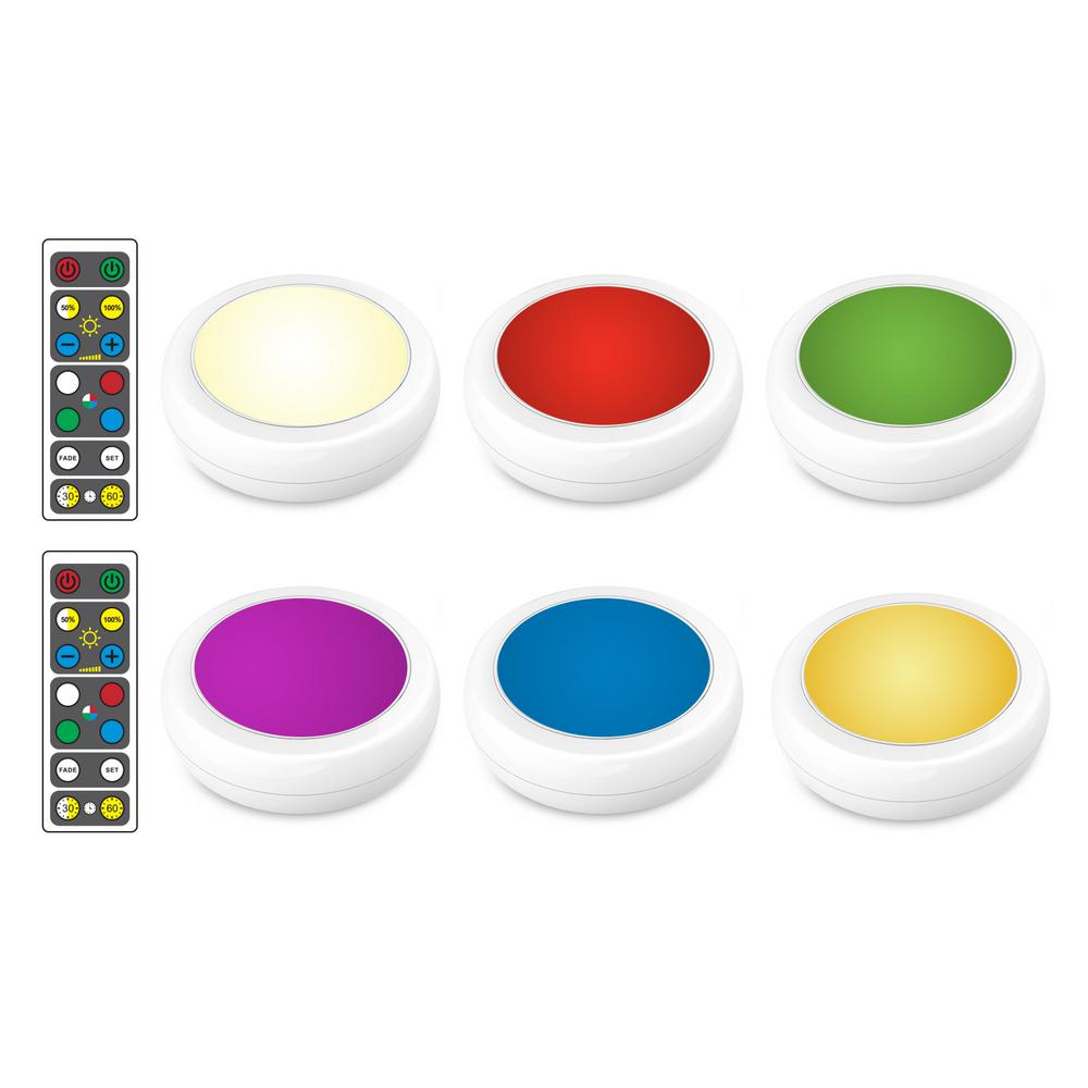 Led White Puck Light With Remote 2 Pack Brrc134: Brilliant Evolution LED White RGB Color Changing Puck