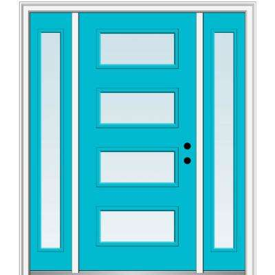 64.5 in. x 81.75 in. Celeste Left-Hand Inswing 4-Lite Clear Low-E Painted Fiberglass Prehung Front Door with Sidelites