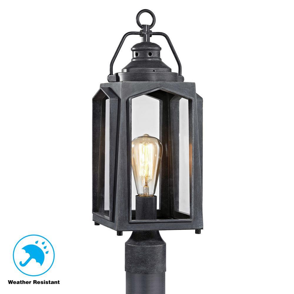 1 Light Charred Iron Outdoor Post Mount Lantern
