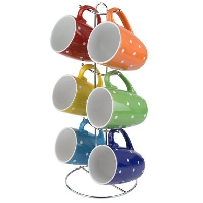 11 oz. Stoneware Mug Set in Polka Dots with Stand
