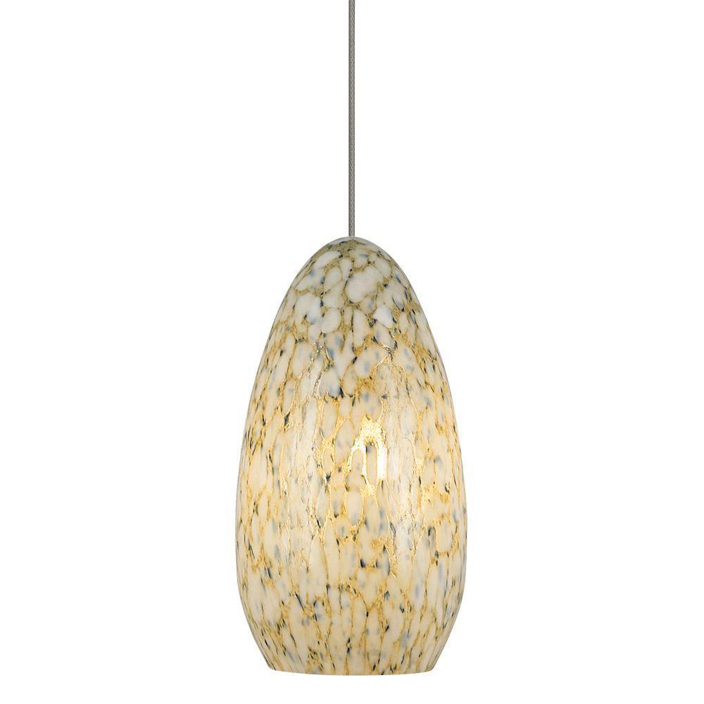 Banja 1-Light Bronze Ivory Opaque LED Hanging Mini Pendant