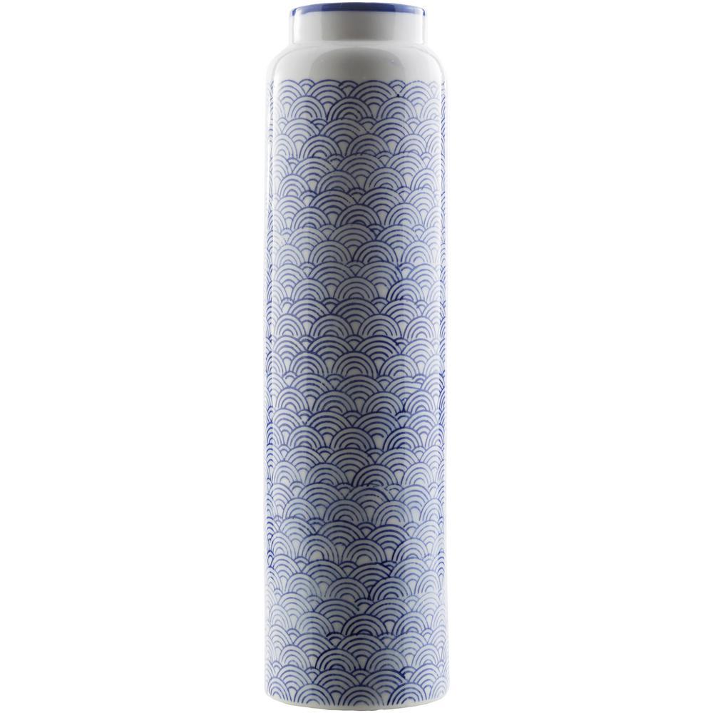 Niryvil 16.34 in. Blue Ceramic Decorative Vase