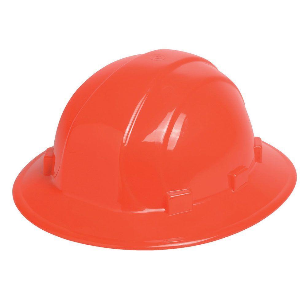 Omega II 6 Point Nylon Suspension Slide-Lock Full Brim Hard Hat in Hi Viz Orange