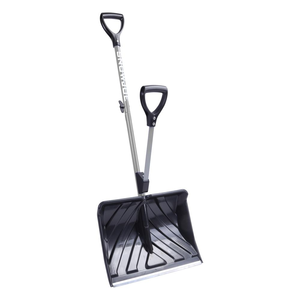 Shovelution 18 in. Strain-Reducing Snow Shovel with Spring-Assist Handle in Gray