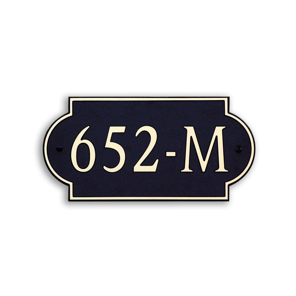 12 in. L x 6 in. W Medium Designer Shape Custom Plastic Address Plaque Gold on Black