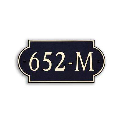 12 in. L x 6 in. W Medium Designer Shape Custom Plastic Address Plaque Gold on Black