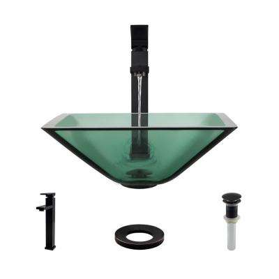 Glass Vessel Sink in Ivy with R9-7003 Faucet and Pop-Up Drain in Antique Bronze