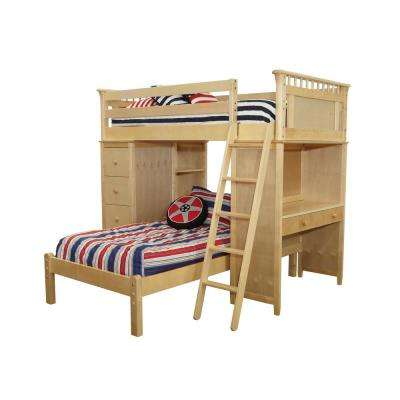 Bennington Natural Twin SSS Loft with Essex Cases and Lower Platform Twin Bed