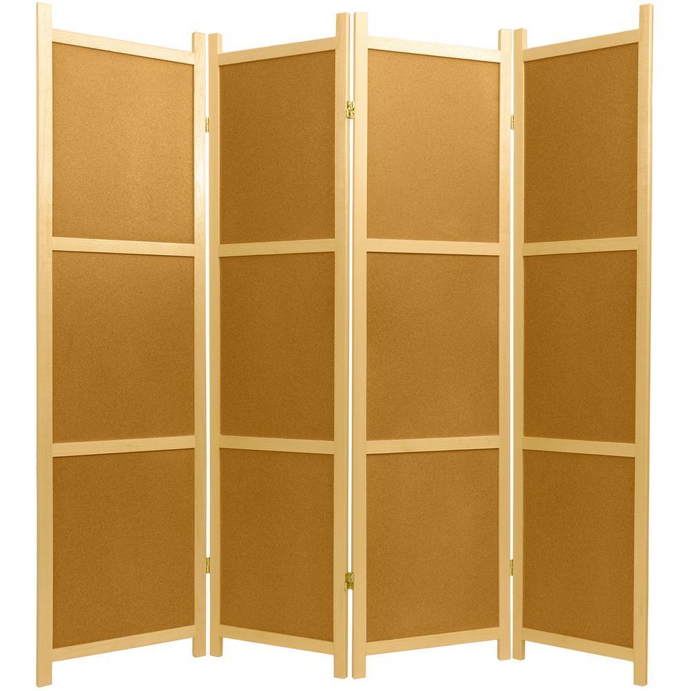 Oriental Furniture 6 Ft Natural 4 Panel Cork Board Room Divider Ss