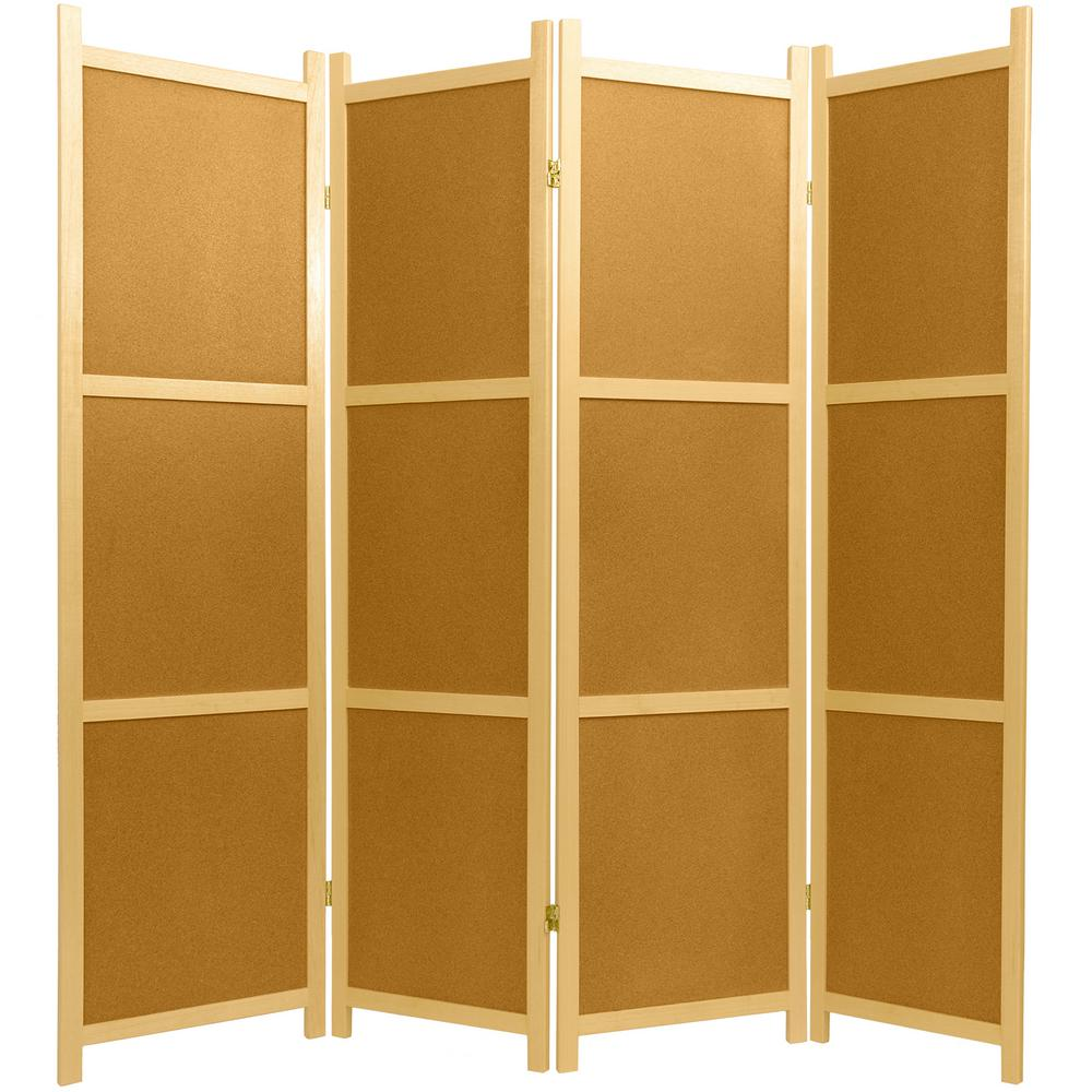 Ft Natural Panel Cork Board Room DividerSSCORKPanel - 4 panel room divider