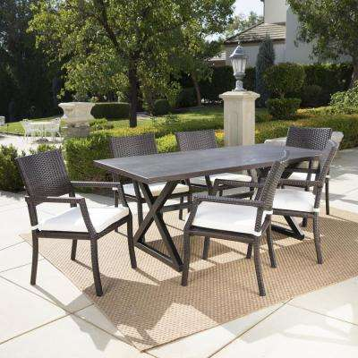 Alani Brown 7-Piece Aluminum Outdoor Dining Set with White Cushions
