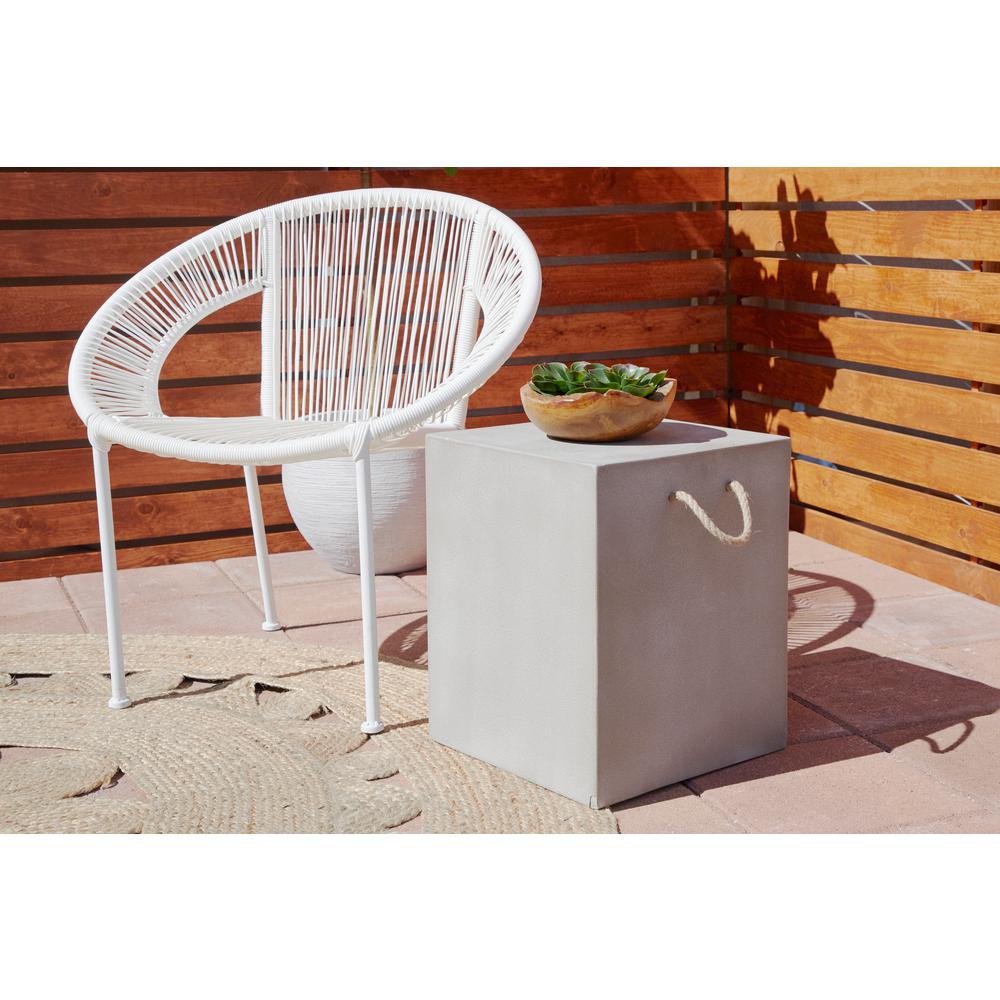 LITTON LANE - White Tin and Rattan Round Chair