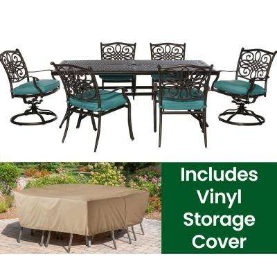 Traditions 7-Piece Aluminum Rectangular Outdoor Dining Set with 2 Swivel Chairs,Protective Cover, Blue Cushions Included