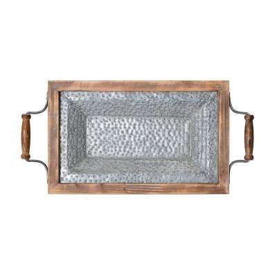 22 in. Wood Tray with Galvanized Bottom