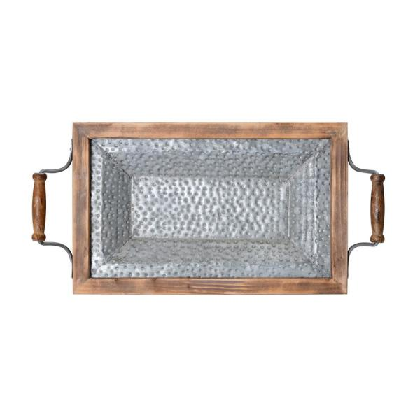 Elements 22 in. Wood Tray with Galvanized Bottom 5230315
