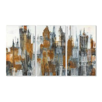 "11 in. x 17 in. ""Ochre Yellow Black and White Cityscape Painting Triptych"" by Liz Jardine Wood Wall Art"