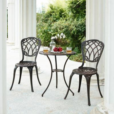 Ornate Traditional Black 3-Piece Aluminum Outdoor Patio Garden Bistro Set