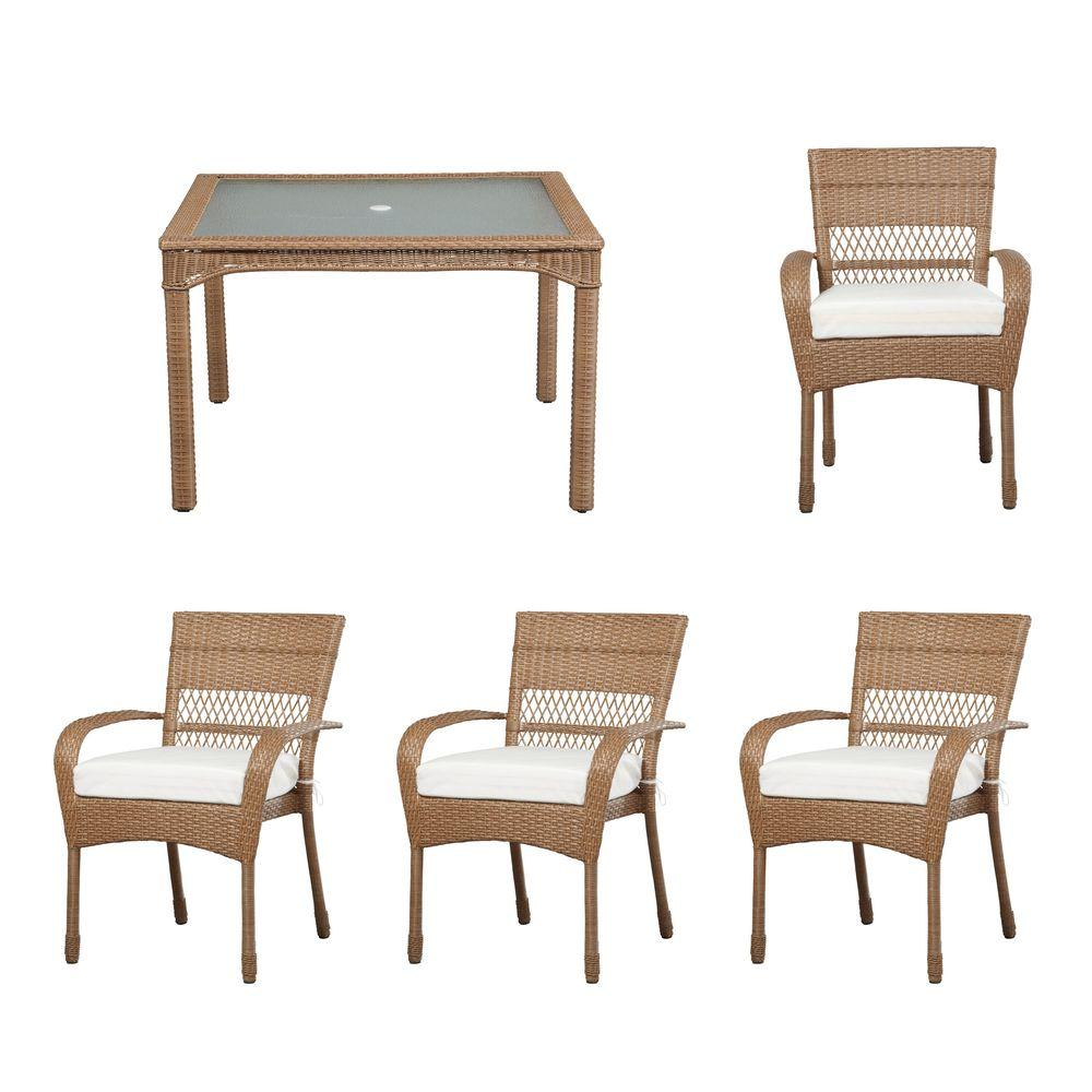 Martha Stewart Living Charlottetown Natural All-Weather 5 ... on Martha Living Wicker Patio Set id=44462