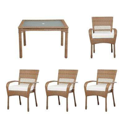 Charlottetown Natural All-Weather 5-Piece Wicker Patio Dining Set with Cushion Insert (Slipcovers Sold Separately)