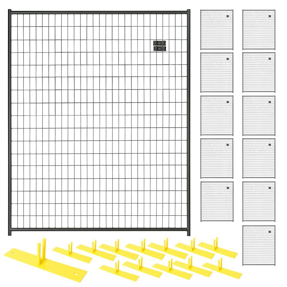 Perimeter Patrol 6 ft. x 60 ft. 12-Panel Black Powder-Coated Steel ...
