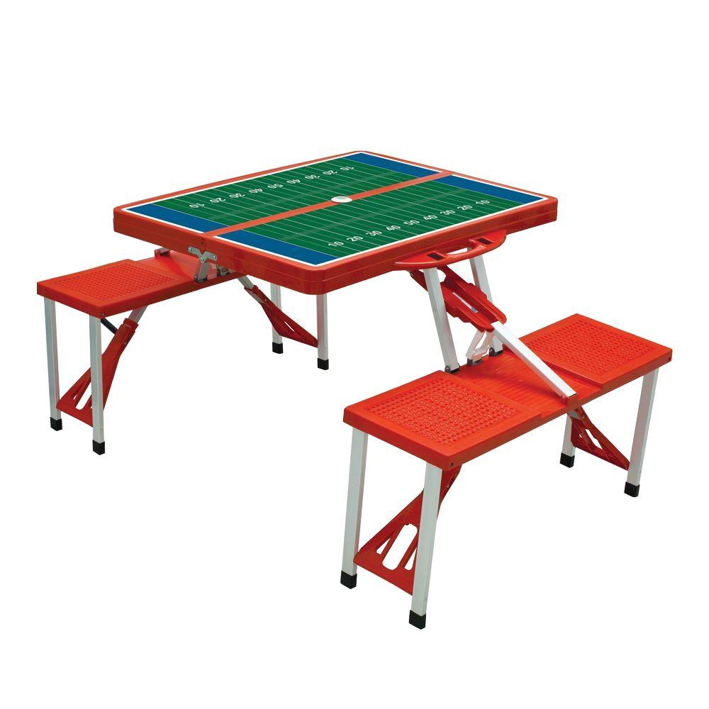 Ordinaire Picnic Time Red Sport Compact Patio Folding Picnic Table With Football  Field Pattern