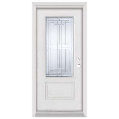32 in. x 80 in. Architect Left-Hand Patina Finished Fiberglass Mahogany Woodgrain Prehung Front Door Brickmould