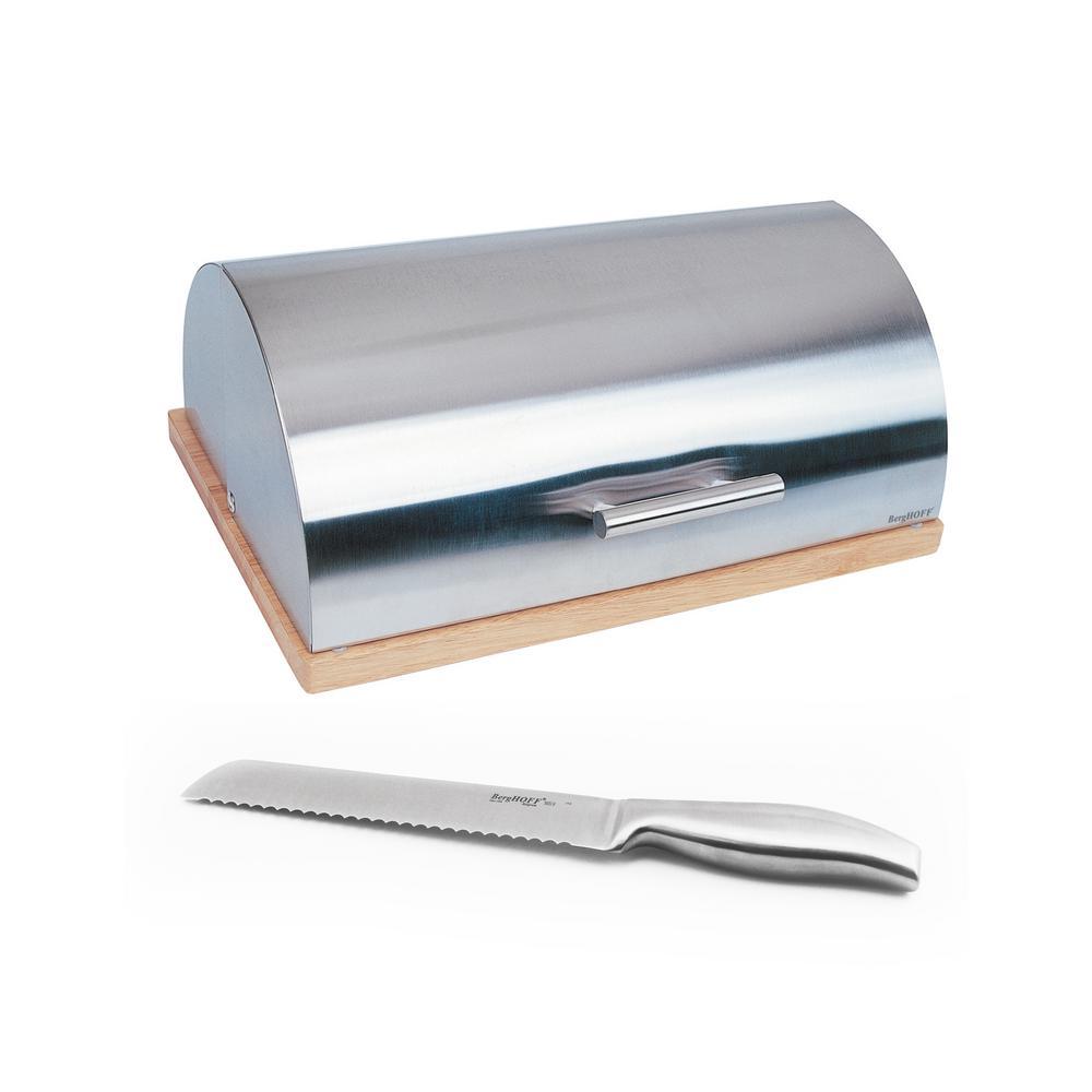 BergHOFF Studio 8 inch Stainless Steel Bread Bin with Geminis Bread Knife by BergHOFF