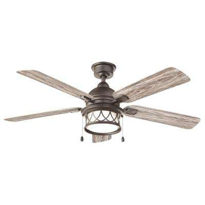 Artshire 52 in. Integrated LED Indoor/Outdoor Natural Iron Ceiling Fan with Light Kit